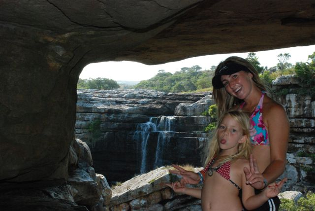 Kirstey and Hannah by a waterfall in Natal