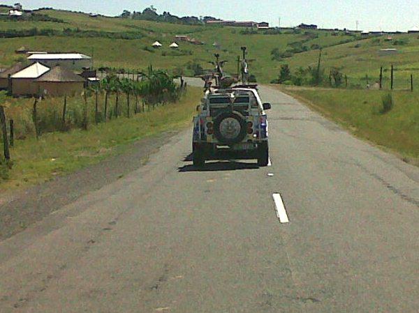 Kim van Kets behind the Meyers Motors Isuzu near Mpande