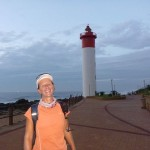 Kim van Kets in front of the Lighthouse at Umhlanga Rocks
