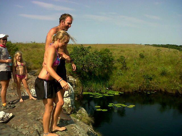 Peter and Kirstey cliff jumping in Natal - Team T-TBC