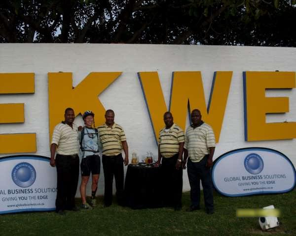 Kim with her sponsor Mpekweni Beach Resort